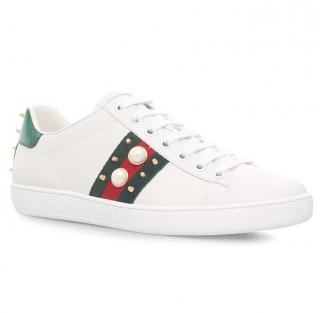 Gucci Spiked Pearl Ace Trainers
