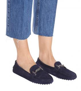 Tod�s Gommino navy blue suede driving loafers