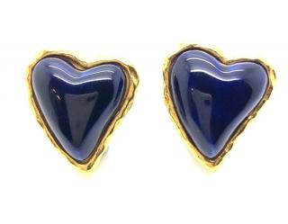 Christian Lacroix Poured Glass Gilt Heart Earrings