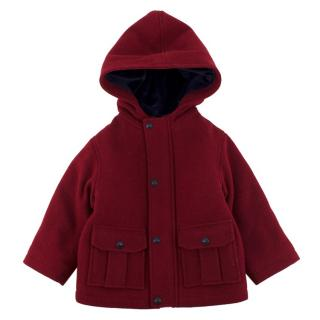 Jacadi Boys Red Hooded Wool Blend Coat
