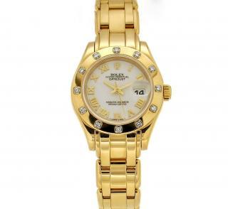 Rolex Datejust Pearlmaster 18k Gold White Dial Diamond Bezel