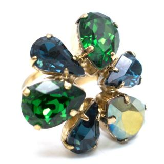 Otazu Green and Blue Swarovski 24ct Gold Plated Ring