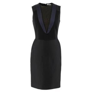 Celine contrast-panel wool & silk-blend dress