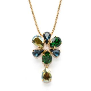 Otazu Green and Blue Swarovski and 24ct Gold Plated Necklace