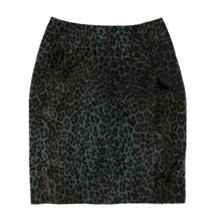 Alaia Jupe leopard-print calf hair pencil skirt