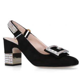 Gucci Black Suede Madelyn Slingback Court Shoes