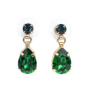 Otazu Green and Blue Swarovski Crystal Earrings