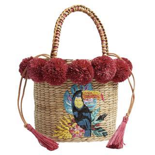 Aranaz Toco Fiesta straw bucket bag