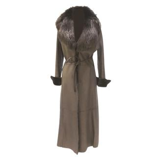 Gianfranco Ferre Lambskin & Fox Belted Coat
