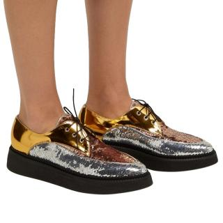 No. 21's metallic lace up creepers