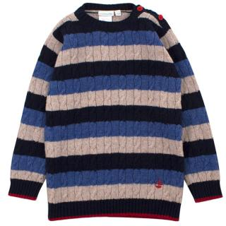 JoJo Maman Bebe Striped Cable knit Jumper