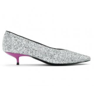 Bimbi and Lola silver glitter low heeled shoes