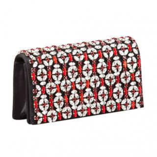 Prada Prada Raso Jeweled Clutch in Black