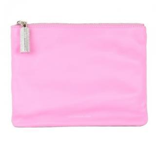 Christopher Kane Swarovski crystal embellished pink leather clutch