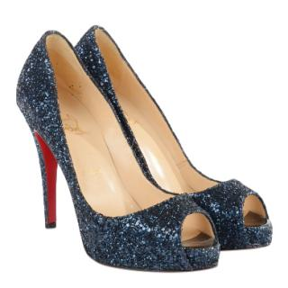 Christian Louboutin Neptune Glitter Vendome 120 Peep Toe Pumps
