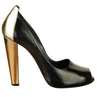 Pierre Hardy black & gold peeptoe pumps
