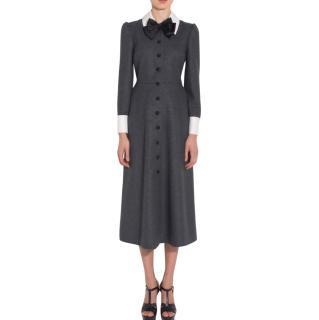 Saint Laurent Bow Neck Midi Dress