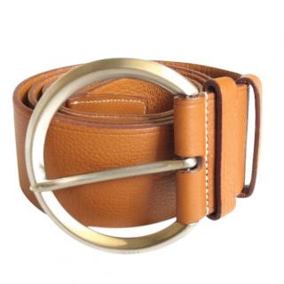 Prada tan grained leather belt