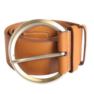 Prada tan grained leather belt