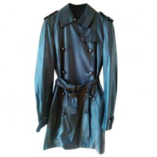 Burberry London Trench Coat in Black Lambskin Leather