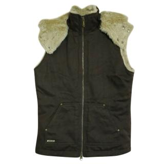 Hemp Hoodlamp Womens Brown Faux Fur Lined Gilet