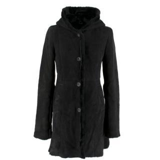 Barneys New York black hooded shearling coat