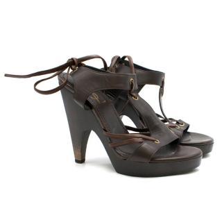 YSL Brown Leather Sandals