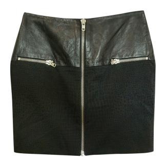 The Kooples Black Leather Panelled Zip Mini Skirt
