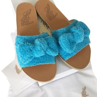 Ancient Greek blue towelling coated sandals