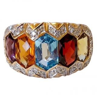Bespoke Diamond, Topaz & Citrine Cocktail Ring 14ct Gold
