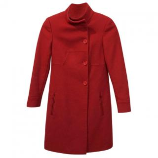 Dondup Red Wool and Cashmere Button-Front Coat