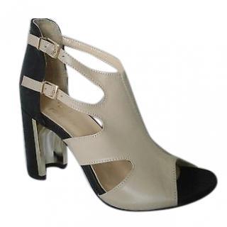 Versace 1969 open-toe cream leather heels