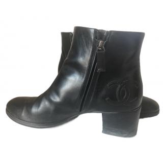 Chanel block-heel leather ankle boots