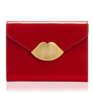 Lulu Guinness red patent leather envelope clutch