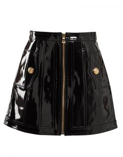BALMAIN Black Patent Leather A-Line High-Rise Mini Skirt