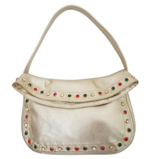 Gianni Versace vintage small gold bag with Crystal stud trim