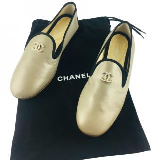 Chanel Metallic CC Pearl Flats
