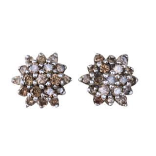 Bespoke 9ct Gold Champagne Diamond Cluster Stud Earrings