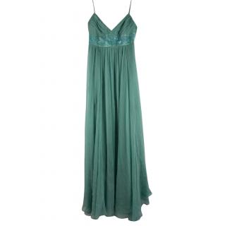 BCBGMAXAZRIA Eau de Nil silk chiffon gown
