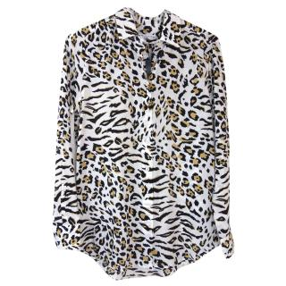 Equipment animal print silk shirt