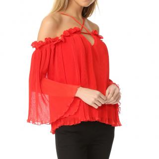 Alice McCall Red Pleated Top