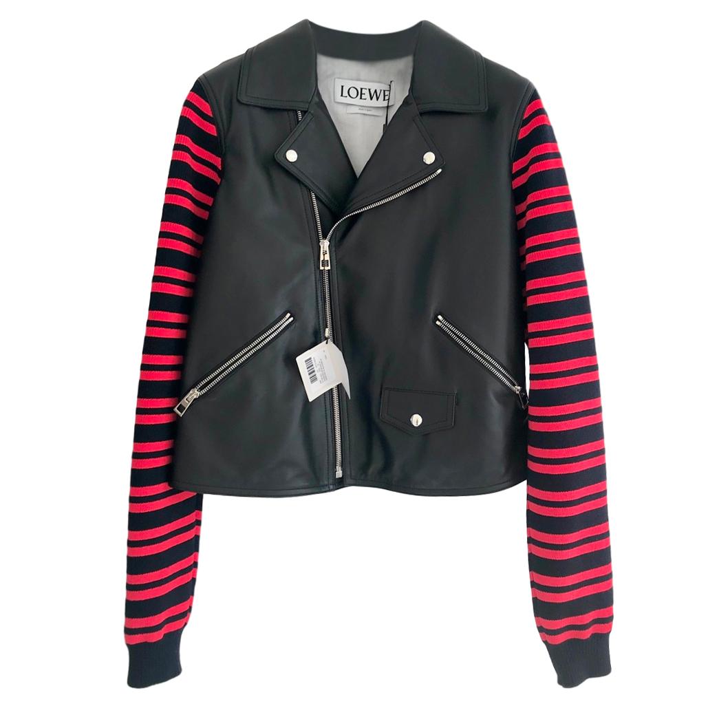 Loewe leather and striped wool-blend biker jacket