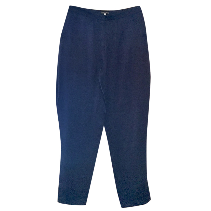 Giorgio Armani blue silk-satin trousers, size 42 NEW