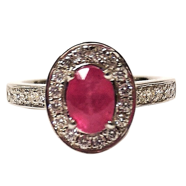 Bespoke Ruby & Diamond Cluster Ring 18ct Gold