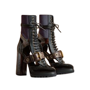 Burberry Leather And Snakeskin Cut-out Platform Boots