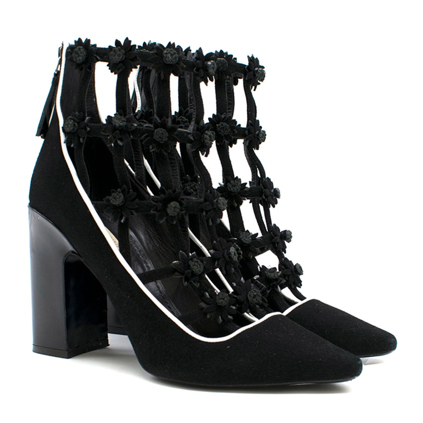 Fabrizio Viti Black Daisy-Applique Ankle Boots
