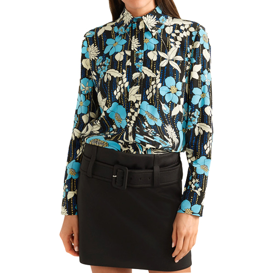 f88d703bb9bb40 Prada Floral-print Silk Crepe De Chine Blouse - New Season