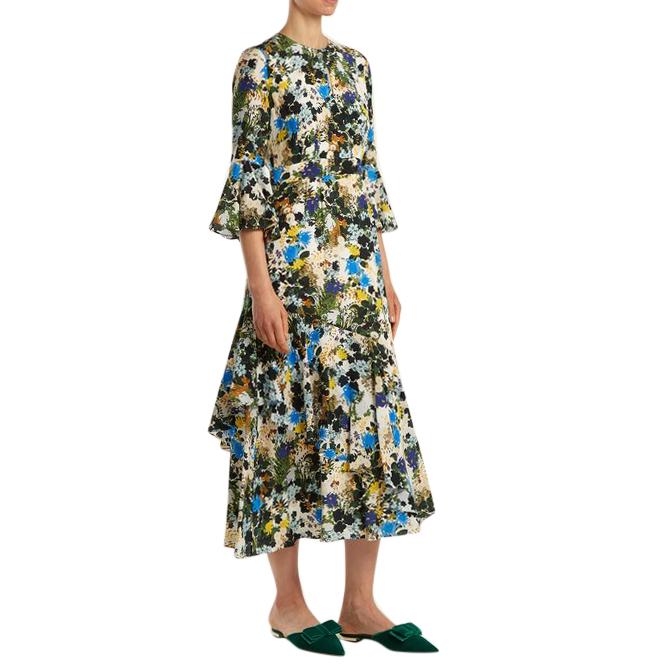 Erdem Florence Mariko Meadow-print silk dress