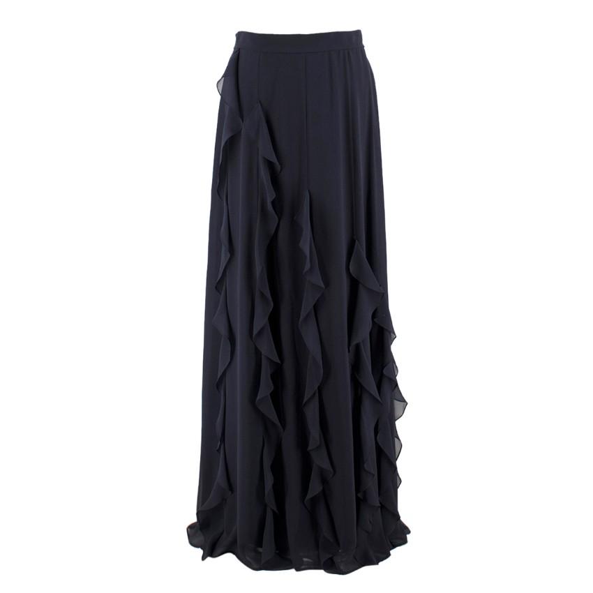 MaxMara Navy Ruffled Silk Long Skirt