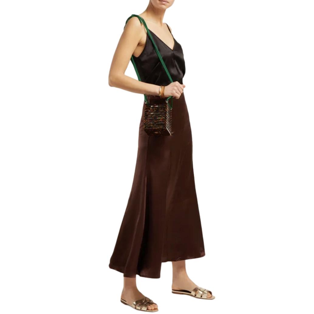 Albus Lumen Brown Silk-Satin Midi Skirt